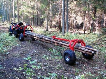 ATV houtsleper met ACHTERZIJDE steun onderdeel en elektrische lier
