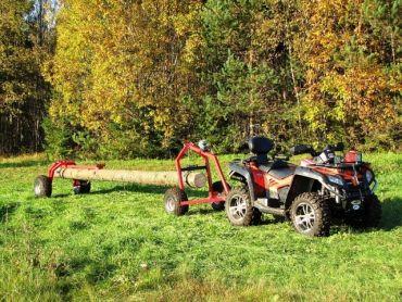 ATV houtsleper met ACHTERZIJDE steun onderdeel en handmatige lier